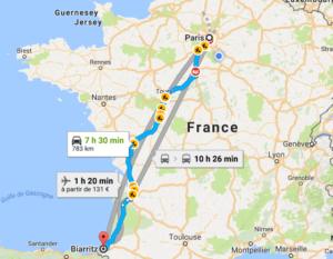 Carte Paris-Biarritz