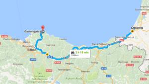 Carte Biarritz - Gaztelugatxe