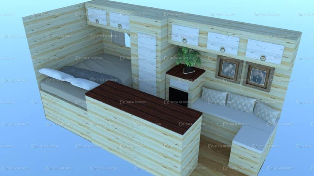 Plan 3D fourgon aménagé